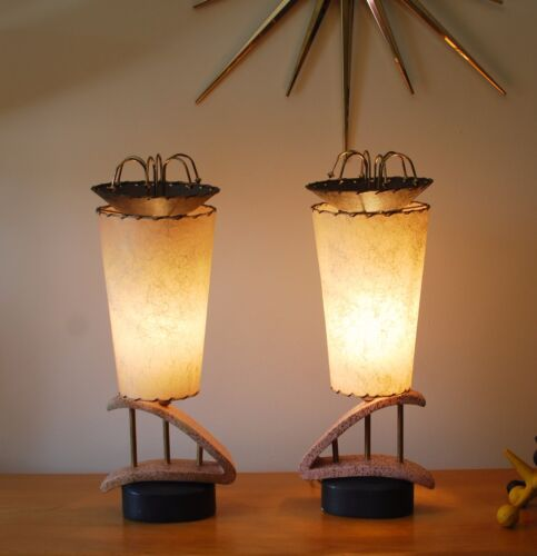 Incredible pair vintage mid century atomic lamps with matching lampshades