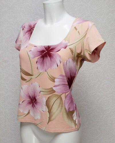 REFLECTIONS stretch Orange Pink Floral Square neck short sleeve Fitted blouse 14