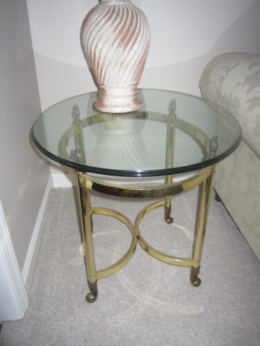Beautiful Brass and Glass end table with Hoof  Feet