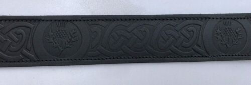 MENS FULL GRAIN COWHIDE LEATHER SCOTTISH THISTLE EMBOSSED KILT BELT