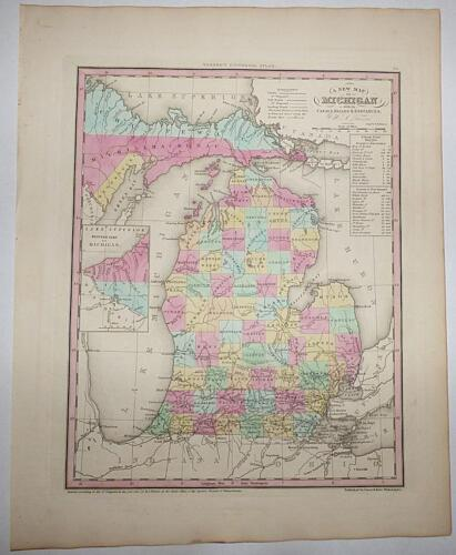 A New Map of Michigan - Henry Shenk Tanner - 1841