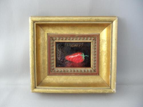 VTG MINIATURE STRAWBERRY ENAMEL PAINTING on COPPER with GOLD WOOD FRAME SIGNED