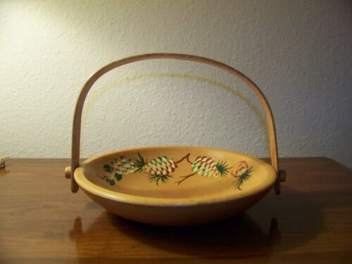 Wooden Bowl  Woodcroftery Hand Painted, with Decretive Wood Handle
