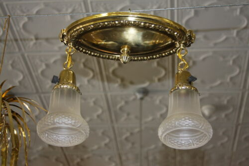 Antique Art Deco 2 Arm Polished Brass Ceiling Light Fixture W Shades