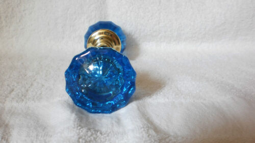 VINTAGE ANTIQUE GLASS DOORKNOBS COLORED AND DYED (BLUE) 1920'S SOLID BRASS HUBS
