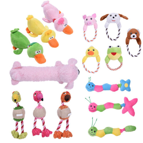 Cute Dog Pet Cat Toy Puppy Chew Squeaker Squeaky Plush Sound Animals Toys