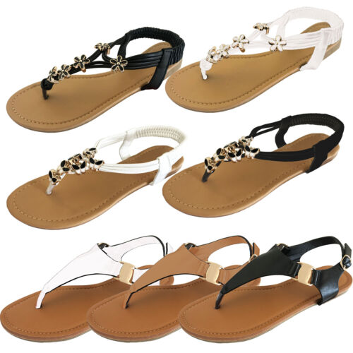LADIES WOMENS OPEN TOE THONG SANDALS SUMMER FLIP FLOP ANKLE STRAP FLAT SHOES NEW