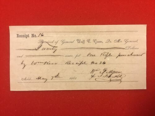 Receipt from QM General from State of Alabama for Rifle. Dated May 7, 1862Documents - 165589