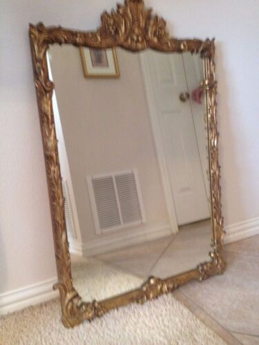 Vintage Ornate Carved Gilt Wall Mirror Art Deco Hollywood Regency