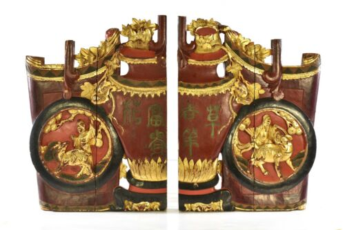 Large Pair of Antique Chinese Red Gilt Wooden Carved Panel, Qing Dynasty, 19th c