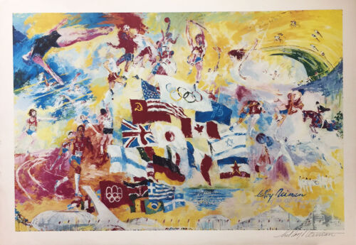 """LeRoy Neiman """"MONTREAL 76"""" OLYMPICS Lithograph HAND SIGNED Art 1976 Summer game"""