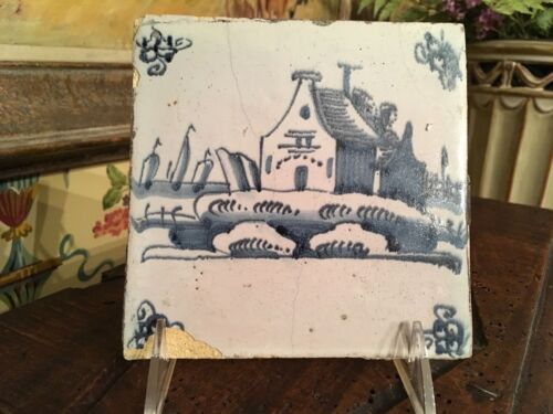 Delft Tile 1800s Church Dutch Delft Pattern