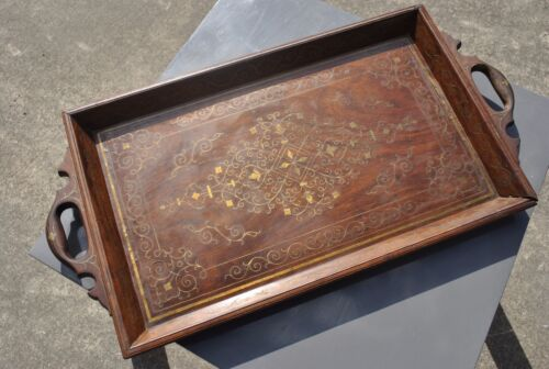 Exquisite Antique Brass Inlay Wooden Tray Highly Ornate and Old