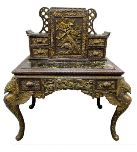 Antique Turn Of Century Asian Carved Wood Renaissance Desk Table 2 Piece