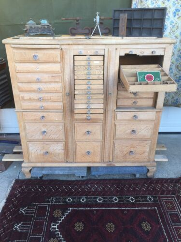 Amazing Antique Dental Cabinet Artists Supply Apothecary Multi-File Drawers
