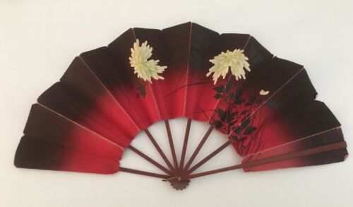 Large 19th Century Asian Red Ladies Paper Hand Fan Chrysanthemums Hand Painted
