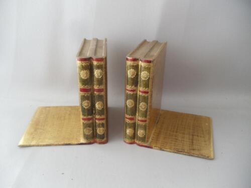 VTG ITALIAN GOLD GILT FLORENTINE TOLE WOOD GESSO BOOKENDS BOOK HOLDER PAIR ITALY