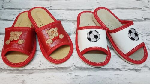 KIDS NATURAL LEATHER OPEN TOE Slippers Shoes, Hand Made In MULTI COLOURS