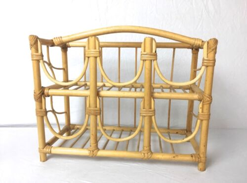 Vtg Bent Wood Rattan Bamboo Wine Rack Stand Tiki Mid Century Bathroom Towel