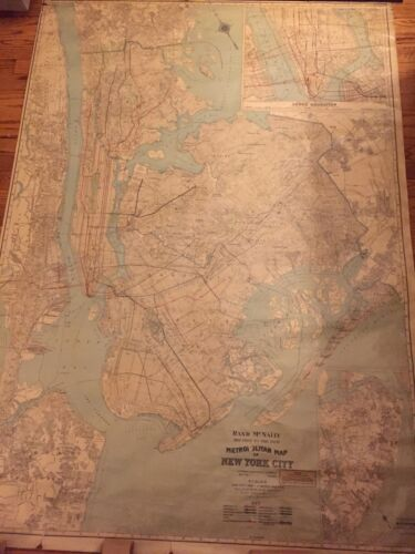 Large Roll Down Antique Rand McNally Metropolitan Map Of New York City  c.1910