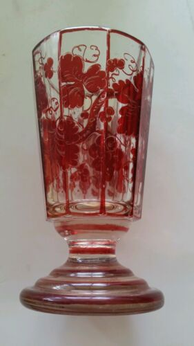 19th Century Antique Biedermeier Glass Cup Red Flash Painted Austrian Bohemian