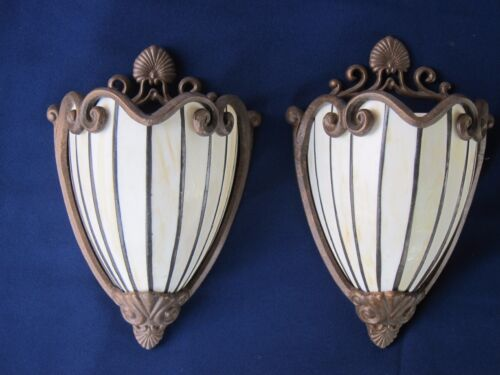 Pair of Art Deco Leaded Glass Reproduction Wall Sconces - Theater style