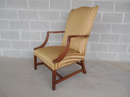Vintage Chippendale Style Library Lolling Arm Chair