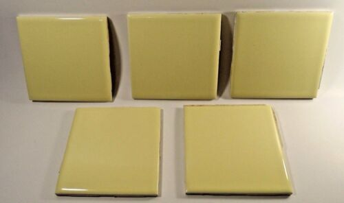 Reclaimed Vintage Yellow Florida Ceramic Tile-Lot of Five(5)-Crafting Tiles