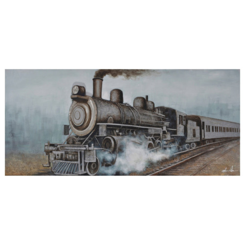 3D Oil Painting Art Train with Smoke Blue Background Canvas Framed