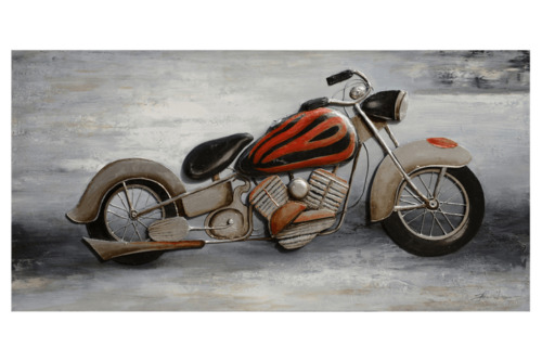 3D Oil Painting Art Cruiser Motorcycle Red on Grey Background Canvas
