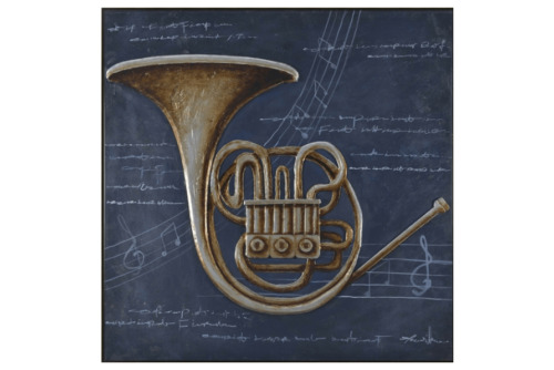 3D Oil Painting Art Trombone Blue Background Writing Musical Notes Canvas