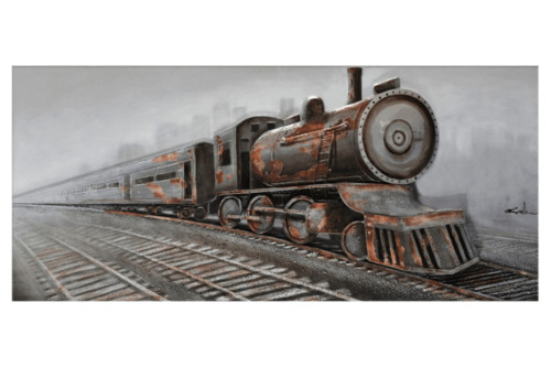 3D Oil Painting Art Train in Motion Track Canvas