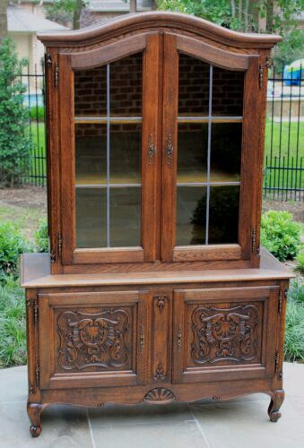 Antique French Country Oak Louis XV Display China Cabinet Bookcase Leaded Glass