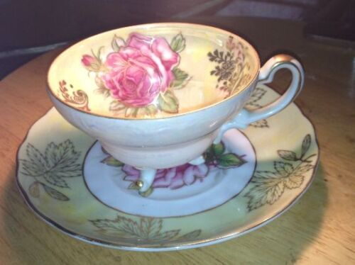 Royal Halsey 3 Footed Tea Cup & Saucer China Yellow Pink Roses Gold Lusterware