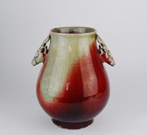 UniqueChina antique LangyaoSangDe Boeuf Oxblood firewood kiln vase Qianlong seal