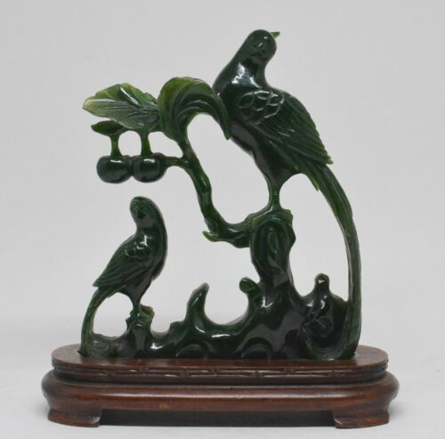 Antique Chinese Hand Carved Jade Bird Figurine ~ 6.5 Inches Tall with Stand ~