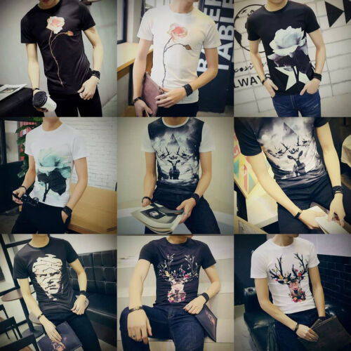 New Men's Fashion Print Short Sleeve Graphic T-Shirts Casual Slim Fit Summer Tee