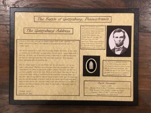 The Gettysburg Address, Ab. Lincoln Display Case with Authentic Bullet with COA Bullets - 103996