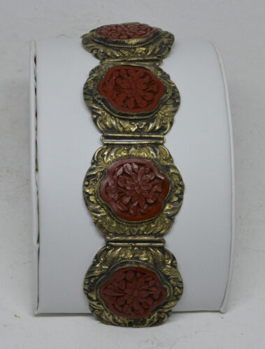 Antique Chinese Export Cinnabar Bracelet ~ 7.6 inches long