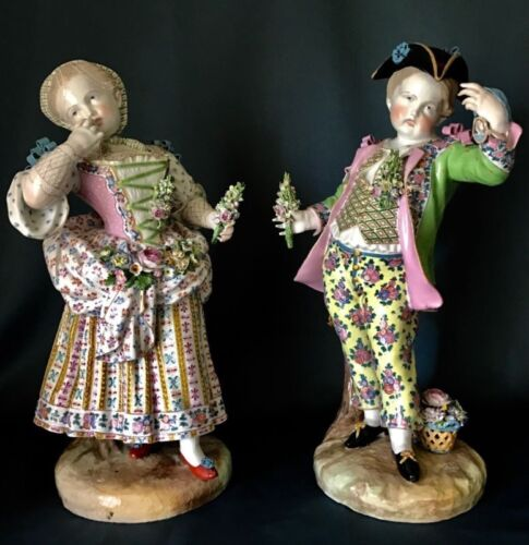 Antique German Meissen Pair Of Porcelain Figurines Of Gardeners Large And Rare