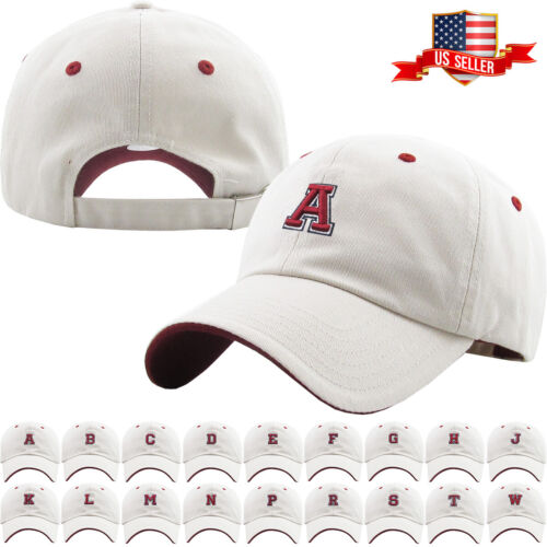 ABC Letter Embroidery INITIAL Ivory Dad Hat Baseball Cap Adjustable 341cd2514cfc
