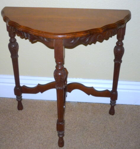 Beautiful 1920's Antique Walnut Solid Wood Carved Half Side Chair Table