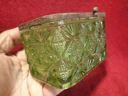 ca 1900 ANTIQUE PRESSED NICE GREEN GLASS TEA CADDY BOX IMPERIAL RUSSIAN RUSSIA