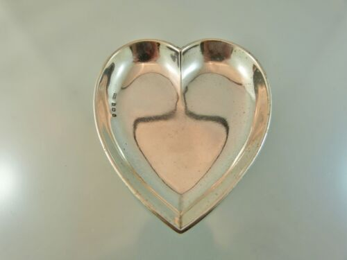 HEART SHAPED ROLLED RIM PIN DISH STERLING BY S M L BIRMINGHAM 1907