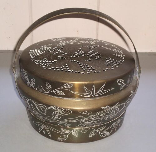 Antique Rare Chinese INCENSE BURNER Large Pot Engraving Decorated Brass