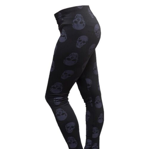 Rue21 Black Skull Full Length Leggings Footless Yoga Gym Fashion Skinny New