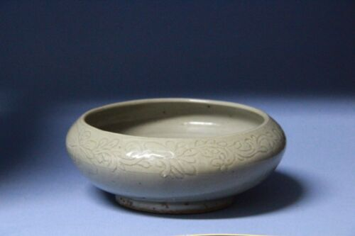 Yuan  Dynasty  green glaze  carved brush container #S019