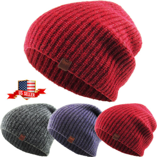 Ribbed Slouch Beanie Winter Ski Skully Striped Heather Colors
