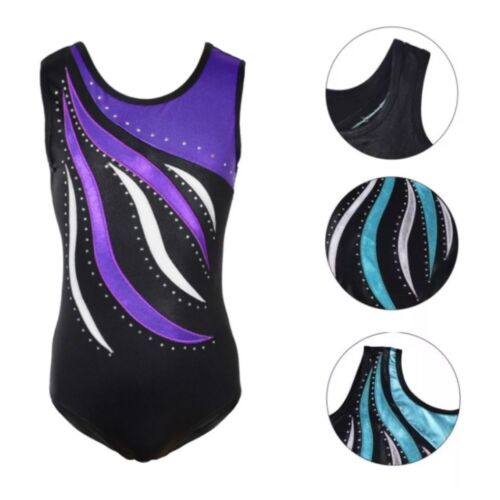 Gymnastic Leotard.Diamanté Gym Dance Costume.Rhinestone Body Suit.5-10 Years.UK