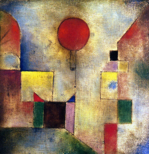 """Red Balloon by Paul Klee, Handmade Abstract Oil Painting Reproduction, 36"""" x 36"""""""